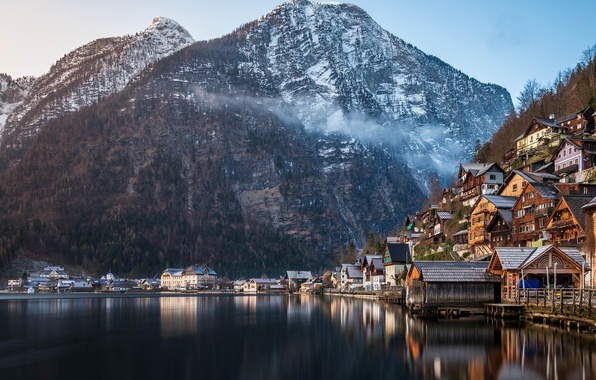 Picture winter, forest, mountains, nature, lake, home, Austria, Alps, Hallstatt, a monument of UNESCO, municipality