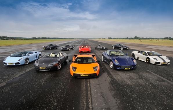 Picture the sky, Ferrari 599, supercars, mixed, Ferrari F430 Spider, Aston Martin DBS, Supercars, Ariel Atom, …