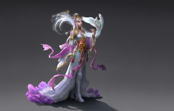 Wallpaper Girl Bird Figure Dress Fantasy Art Tape