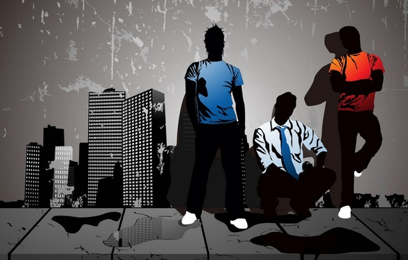 Picture the city, grey, vector, guys