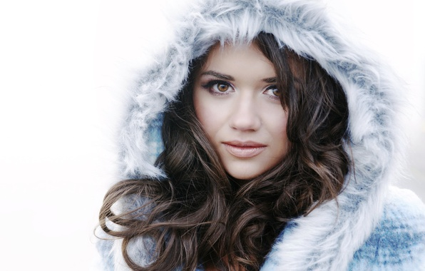Picture look, girl, face, eyelashes, lips, fur, curls, brown eyes