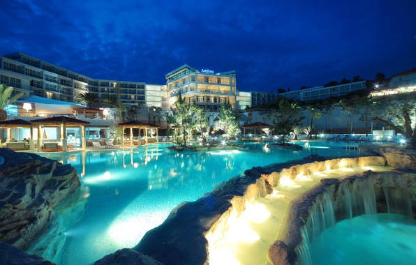 Picture trees, night, lights, stones, island, waterfall, pool, the hotel, resort, Croatia, gazebos, island Hvar