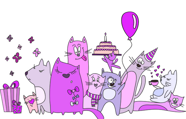 Picture butterfly, balloon, cats, coffee, scarf, gifts, hearts, cake