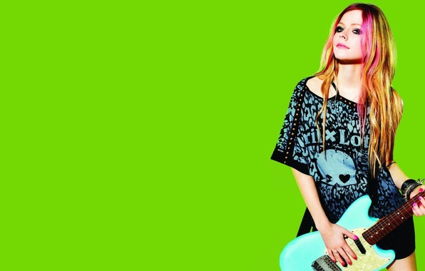 Picture green, music, background, model, clothing, guitar, actress, photographer, singer, Avril Lavigne, Avril Lavigne, brand, Lotto, …