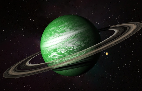 Picture space, planet, belt, green