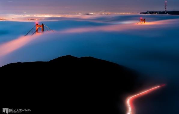 Picture lights, fog, San Francisco, photographer, the Golden Gate bridge, Kenji Yamamura