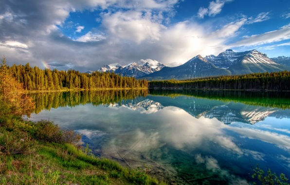 Picture forest, the sky, clouds, mountains, lake, reflection, rainbow