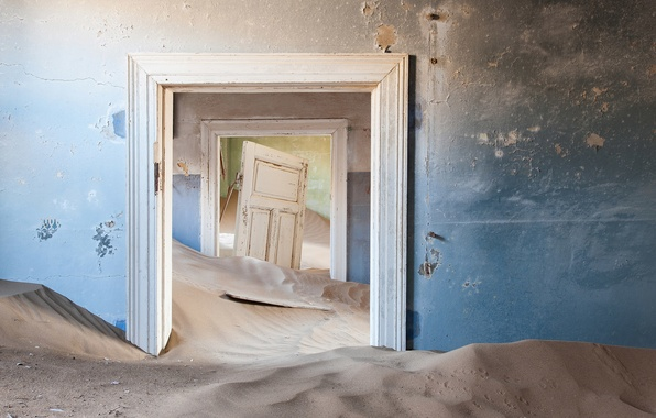 Picture sand, wall, door, dunes, room