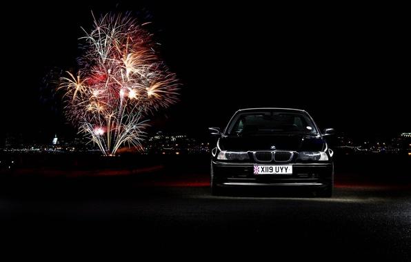 Picture lights, BMW, fireworks, black, BMW 3 Series