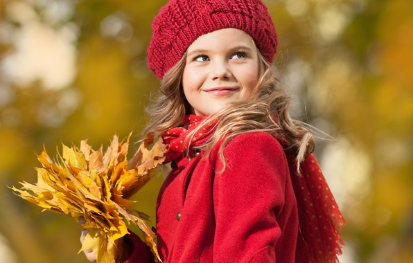 Picture autumn, look, leaves, smile, blonde, girl, coat, cap