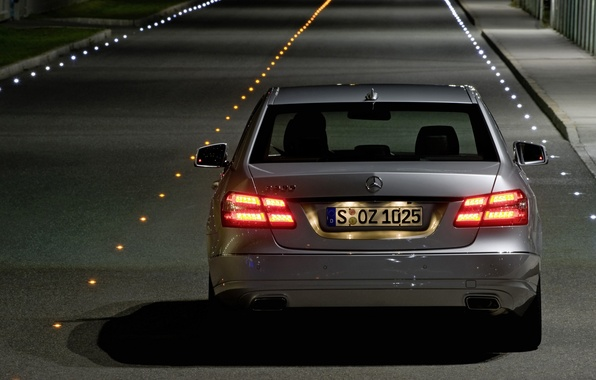 Picture road, ass, the evening, mercedes-benz, e500