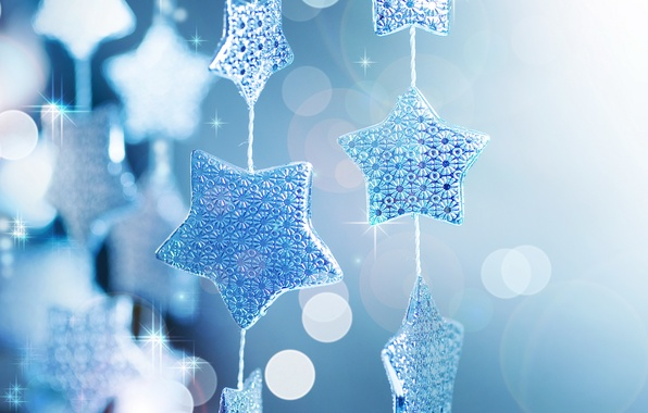 Picture stars, macro, glare, holiday, Shine, new year, sequins, new year, garland, blue background