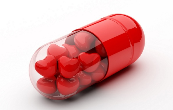 Picture heart, capsule, white background