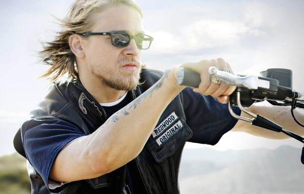 Photo wallpaper glasses, beard, bike, Charlie Hunnam, Sons of Anarchy, Sons Of Anarchy