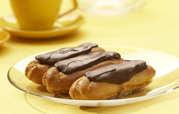 Picture yellow, the sweetness, food, chocolate, plate, Cup, cake, dessert, delicious, filling, custard