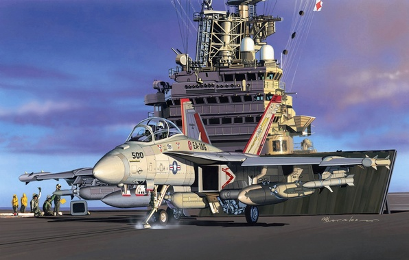 Picture the plane, art, artist, Boeing, USA, Boeing, Super, Growler, Navy, deck, Hornet, developed, database, fight, …