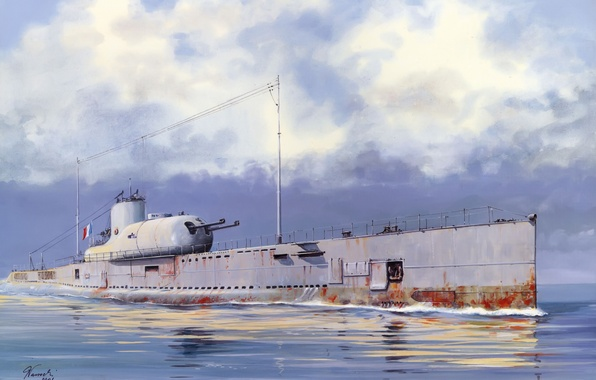 Picture water, boat, figure, art, underwater, The second world war, submarine, French, Surcouf, Surcouf, diesel