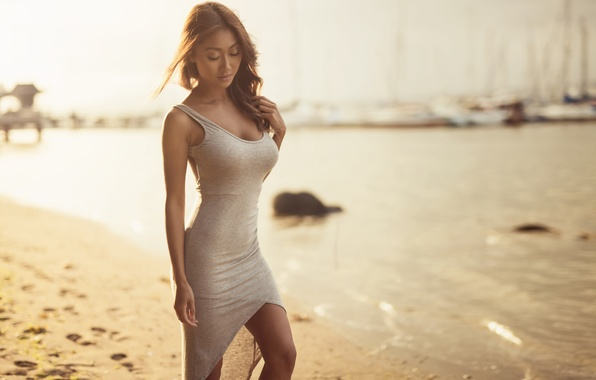 Picture sand, sea, water, mood, shore, blur, yachts, figure, dress, brunette, Asian