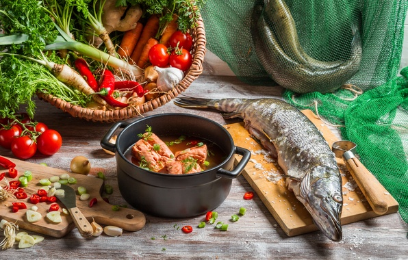 Picture fish, vegetables, ear, pike, the first dish