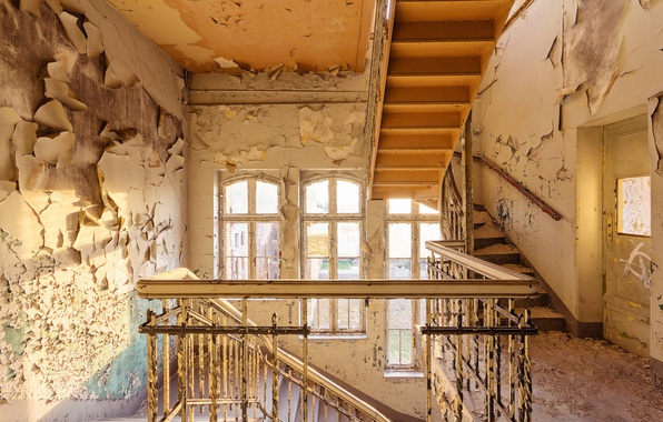 Picture windows, sunlight, abandoned, door, stairs, decay