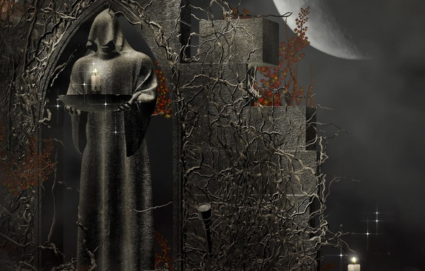 Picture death, rendering, patterns, stone, candles, The moon, figure, fantasy, hood, Moon, fantasy, death, rendering, priest, …