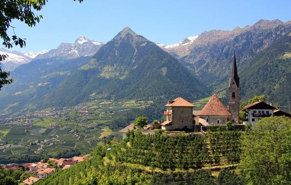 Picture mountains, valley, Italy, Church, panorama, Italy, Merano, Bolzano, South Tyrol, Merano, South Tyrol