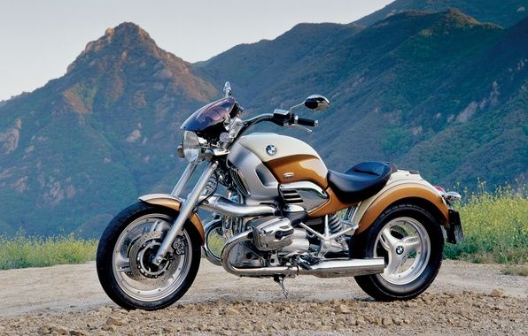 Picture mountains, background, motorcycle