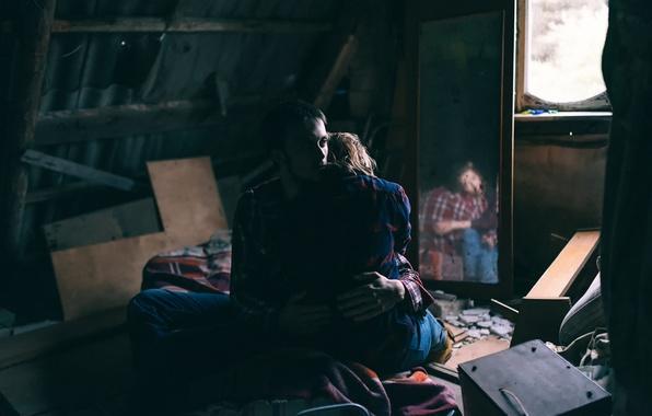 Wallpaper sadness, girl, mirror, guy, attic, Victoria Berngard