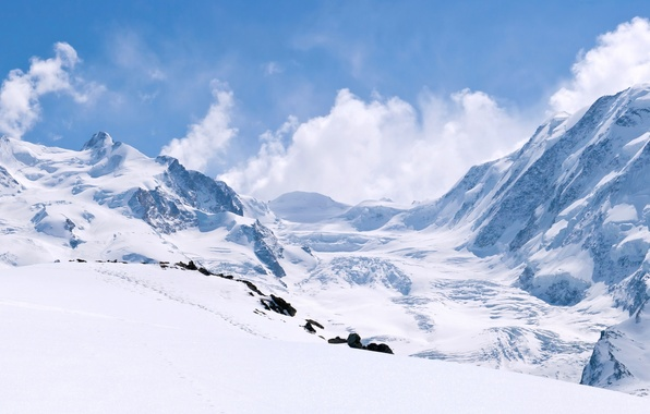 Picture winter, the sky, clouds, snow, landscape, mountains, nature, rocks
