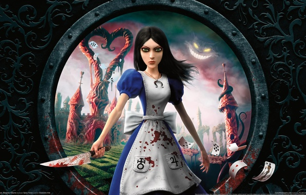 Picture card, blood, Alice, knife, Alice Madness Returns