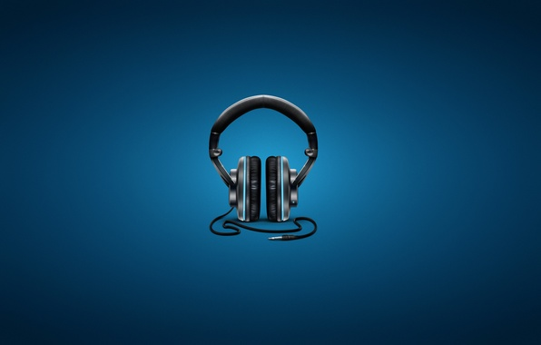 Picture music, headphones, blue background, cord
