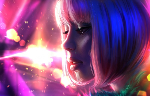 Picture girl, face, pink, hair, color, art, lips, painting