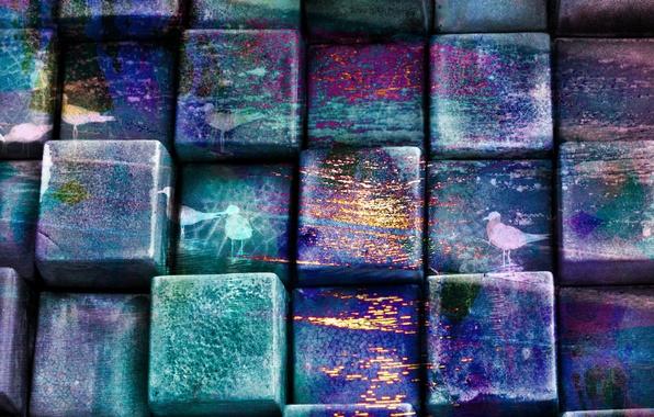 Picture blue, green, pattern, figure, color, Cubes, birds, texture, wooden