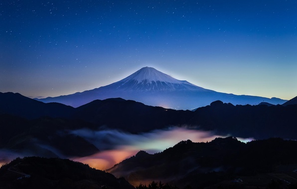Picture the sky, stars, landscape, night, nature, mountain