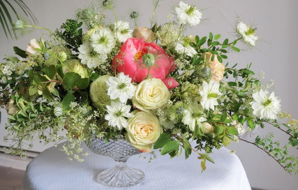Picture photo, Flowers, Vase, Roses, Nigella, Bouquets, Peonies Spiraea