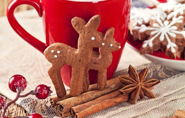 Picture snowflakes, berries, New Year, cookies, Christmas, Cup, sweets, cinnamon, deer, Christmas, red, cakes, New Year, …