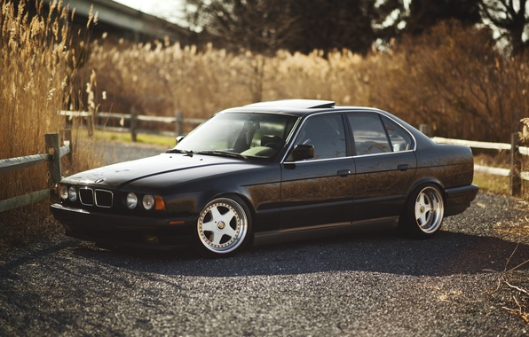 Picture BMW, BMW, black, black, tuning, E34, 525, 5 series