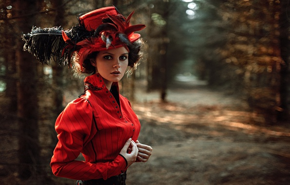 Picture look, girl, face, Park, portrait, hat, feathers, dress, hairstyle, light, the beauty, nature, sunset, art, …