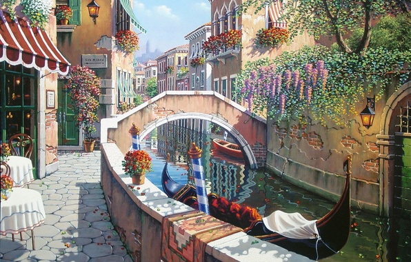 Picture summer, flowers, Italy, Venice, channel, San Marco, painting, Italy, gondola, painting, Venice, Bob Pejman, the …