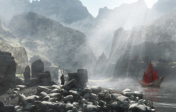 Picture red, lake, stones, rocks, people, ship, waterfall, sailboat, sword, guy, render