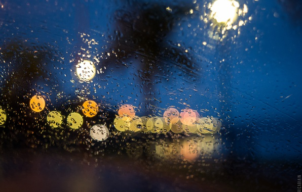 Picture lights, glass, night, drops, raining, globes