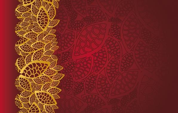 Picture background, red, golden, ornament, vintage, texture, floral, pattern, floral