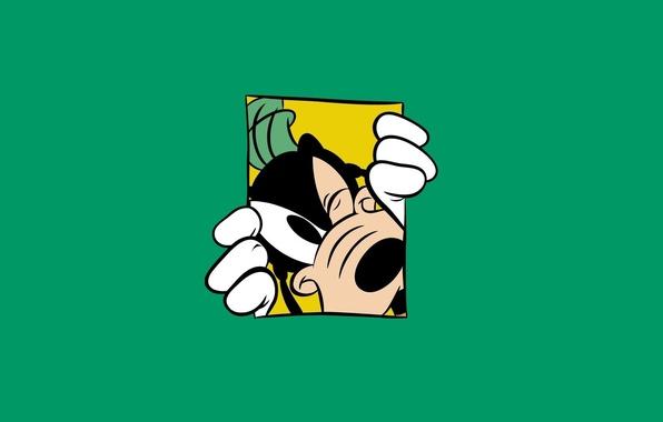 Picture Minimalism, Green, Walt Disney, Walt Disney, Goof, Goofy, Goofy, Green Background