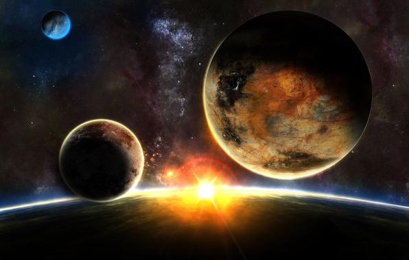 Picture stars, sunrise, planet, sunrise