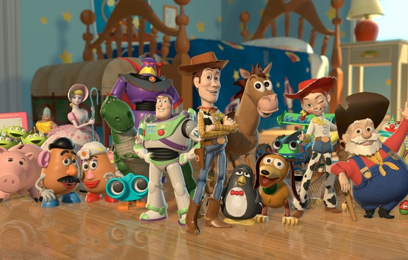 Picture horse, dinosaur, dog, piggy, pig, cowboy, aliens, spring, toy story, toy story 2, Rex, potato …