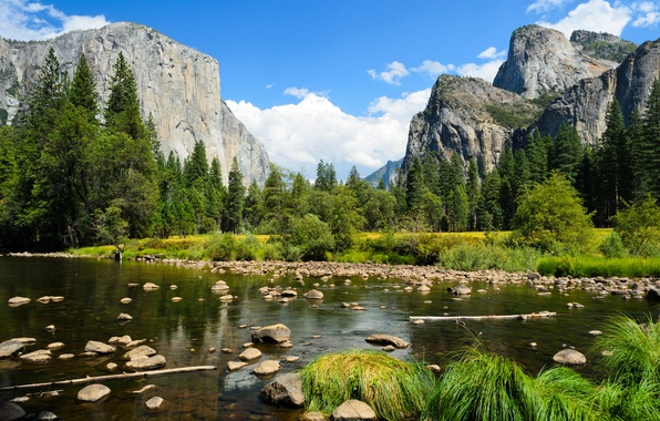 Picture forest, the sky, clouds, trees, mountains, river, stones, rocks, Yosemite National Park