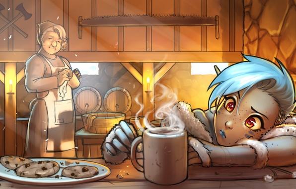 Picture eyes, elf, fantasy, art, girl, mug, ears, tavern