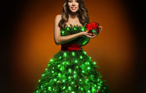 Picture New Year, Dress, Tree, Brown hair, Garland