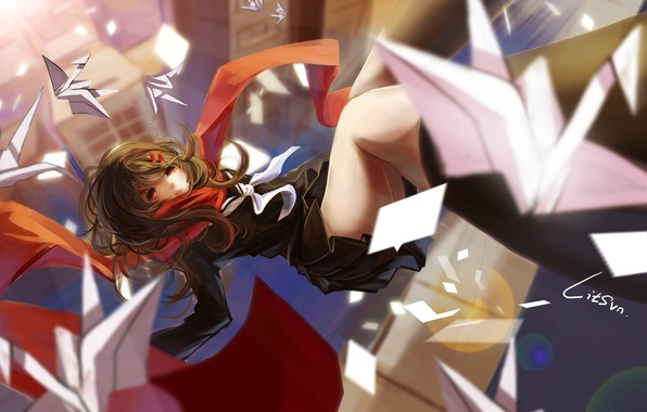 Wallpaper Girl The City Home Anime Scarf Drop Art Origami