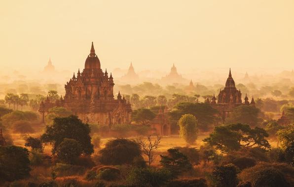 Picture morning, haze, Myanmar, Burma, temples